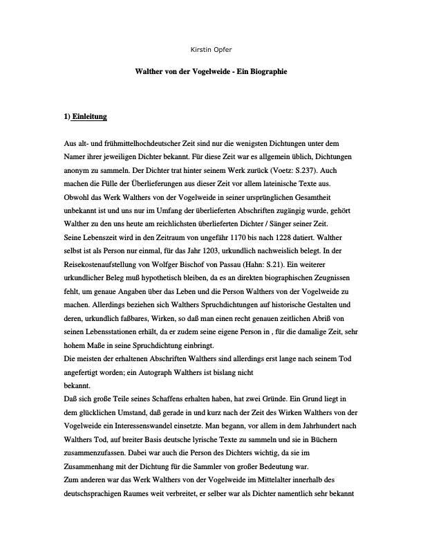 Titel: Vogelweide, Walther von der - Ein Biographie