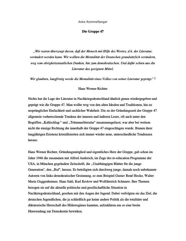 """Titel: """"Die Gruppe 47"""" und der Einfluss ihrer """"Trümmerlitaratur"""". Entwicklung, Ziele und Ideologie der Gruppe"""