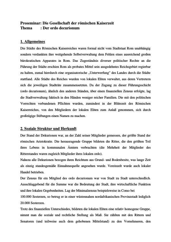 Titel: Der ordo decurionum - Handout