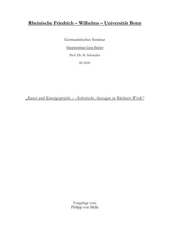 Titel: Kunst und Kunstgespräche - Ästhetische Aussagen in Büchners Werk