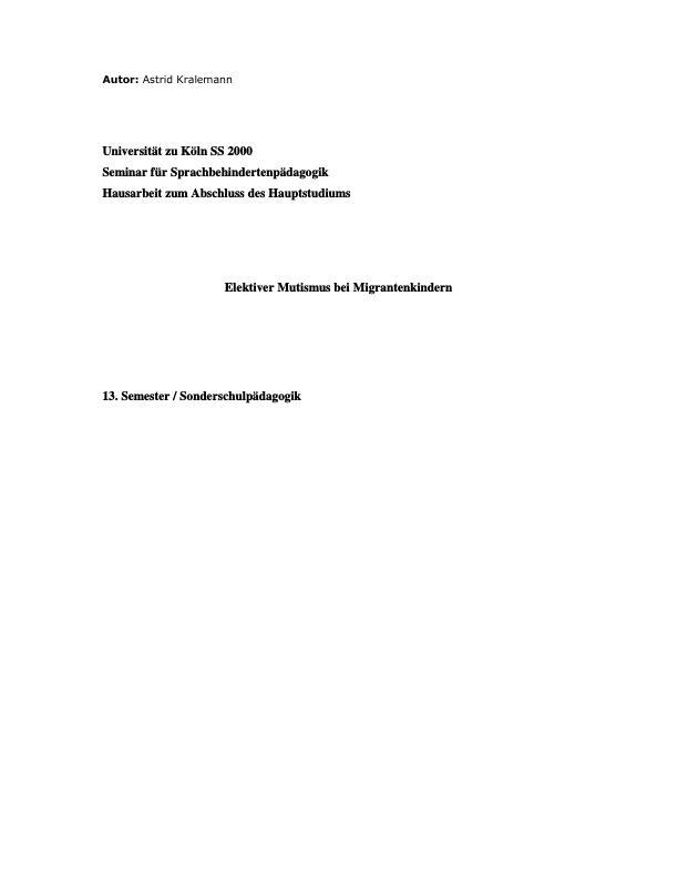 Titel: Elektiver Mutismus bei Migrantenkindern