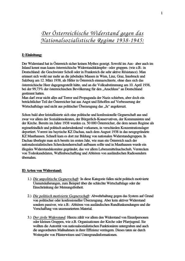 Titel: Österreichischer Widerstand gegen das Nationalsozialistische Regime 1938-1945