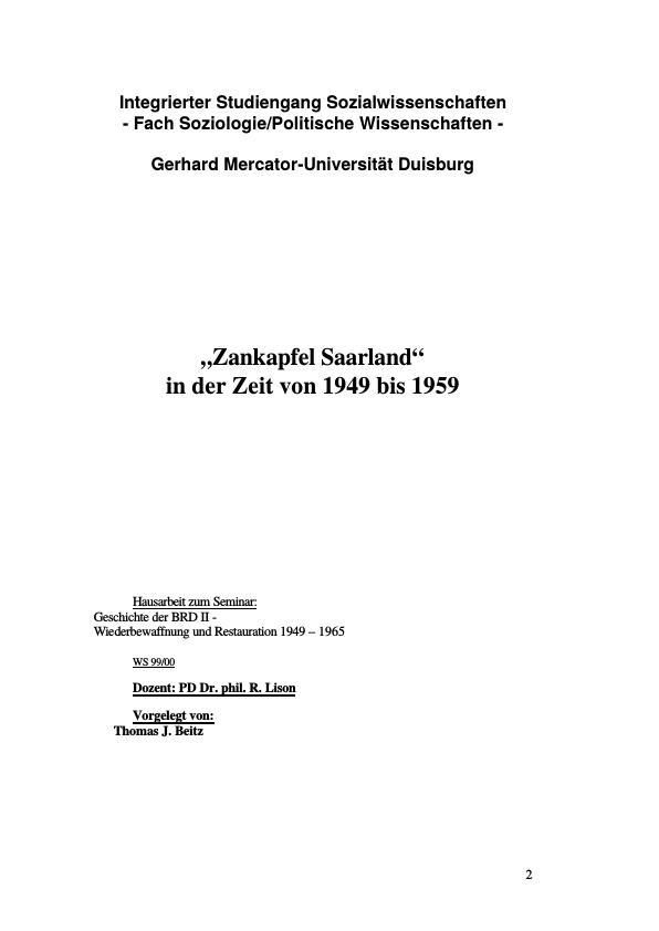 Titel: Zankapfel Saarland - Die Re-Integration des Saarlandes in der Zeit von 1946 bis 1959