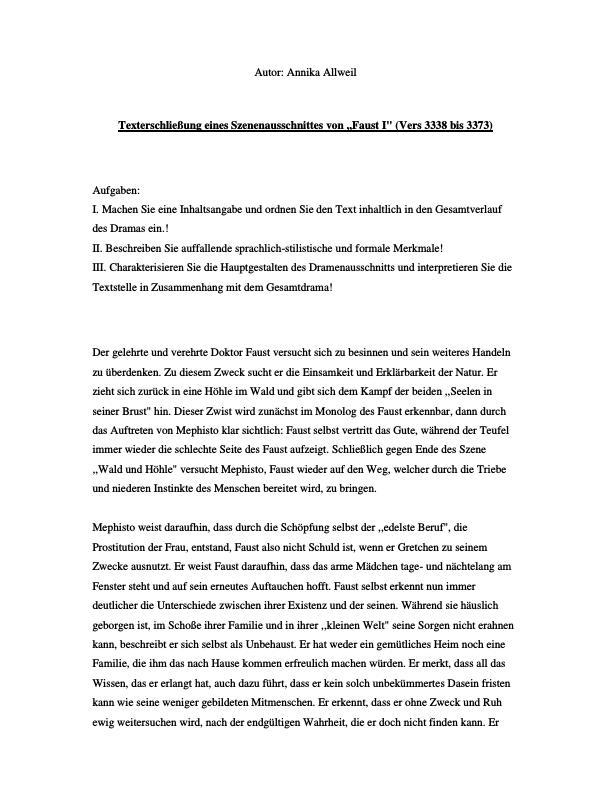 Goethe Johann Wolfgang Von Faust Texterschliessung