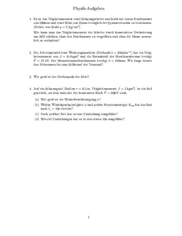 Titel: Aufgaben und Lösungen zum Thema Rotation starrer Körper