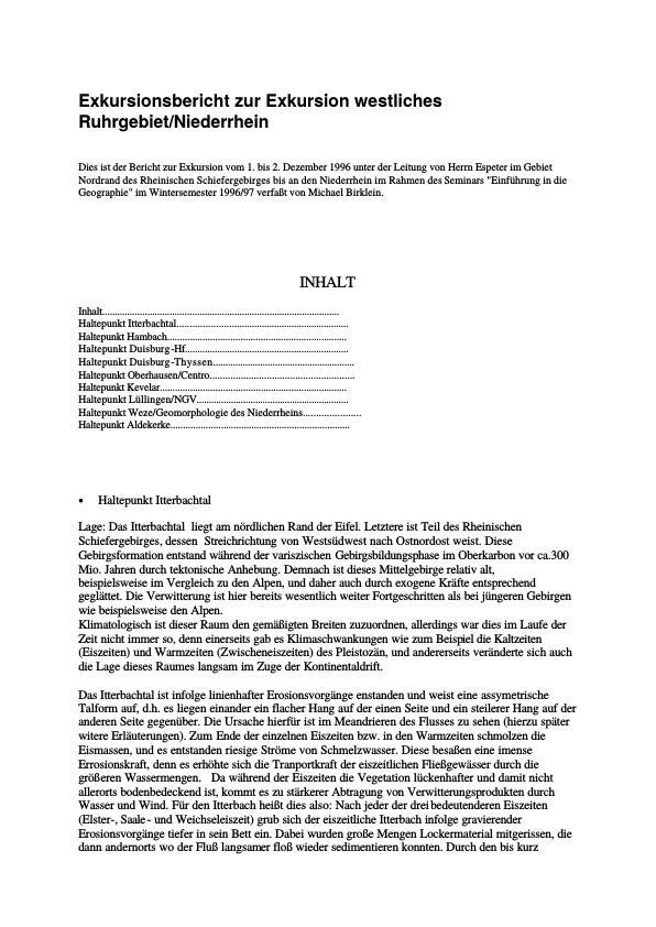 Titel: Exkursionsbericht Niederrheinische Bucht/Östliches Ruhrgebiet