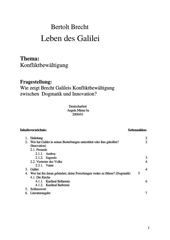 Brecht Bertolt Das Leben Des Galilei Wie Zeigt Brecht Galileis