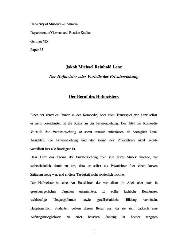 Titel: Lenz, Jakob Michael Reinhold - Der Hofmeister - Der Beruf des Hofmeisters