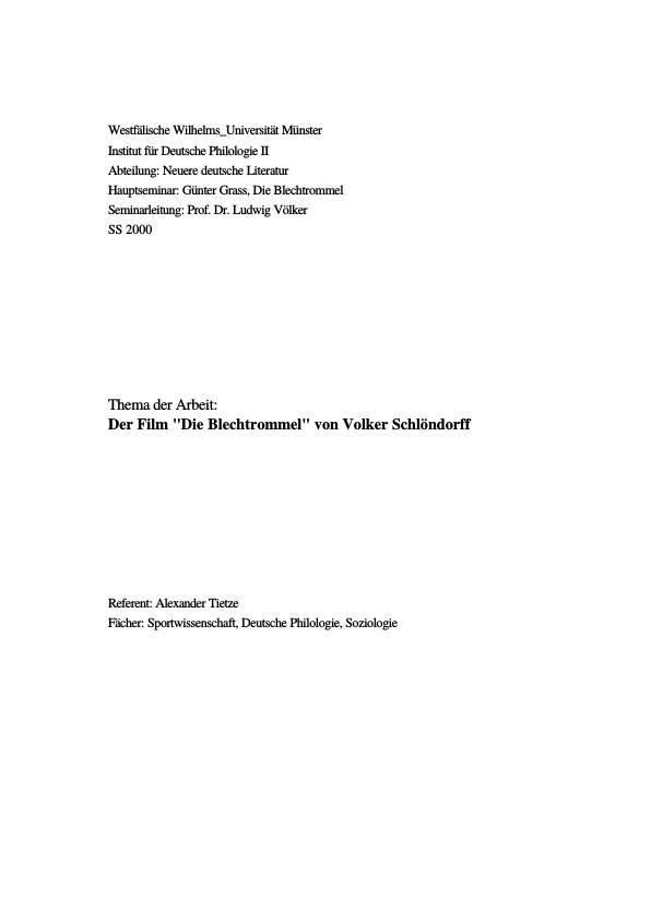 """Titel: Der Film """"Die Blechtrommel"""" von Volker Schlöndorff"""