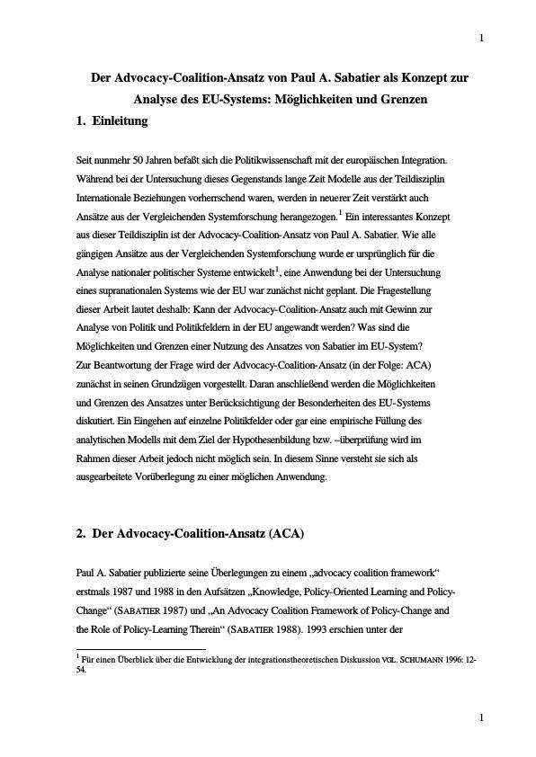 Titel: Der Advocacy-Coalition-Ansatz von Paul A. Sabatier als Konzept zur Analyse des EU-Systems. Möglichkeiten und Grenzen