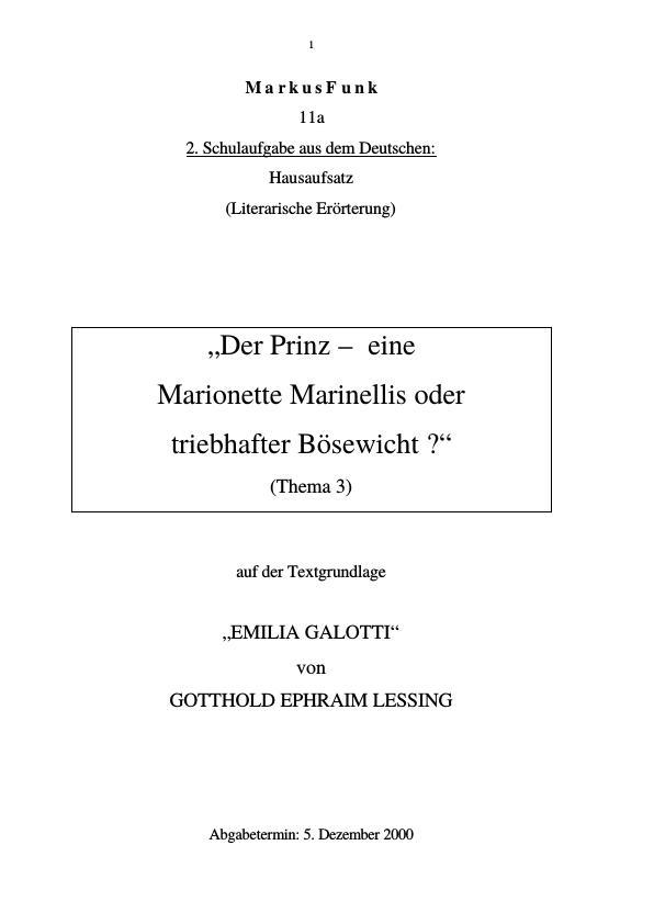 Titel: Lessing, G. E. - Emilia Galotti - Der Prinz - eine Marionette Marinellis oder triebhafter Bösewicht?