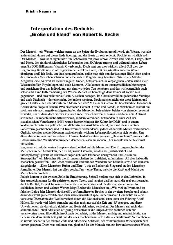Titel: Becher, Robert E. - Größe und Elend