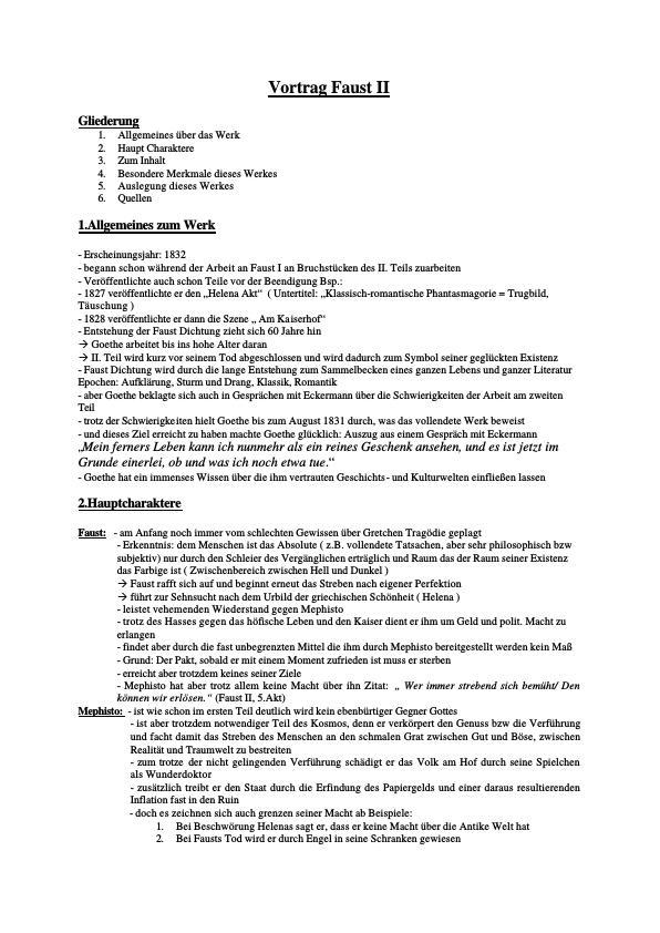Titel: Goethe, Johann Wolfgang von - Faust II - Referat