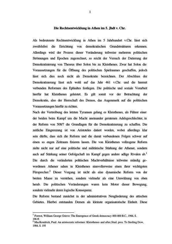 Titel: Die Rechtsentwicklung in Athen im 5.Jhrd.