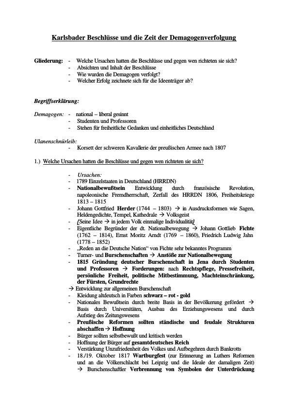 Titel: Karlsbader Beschlüsse