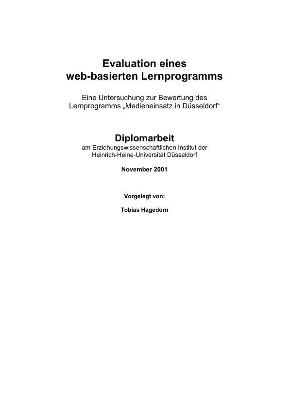Titel: Evaluation eines web-basierten Lernprogramms