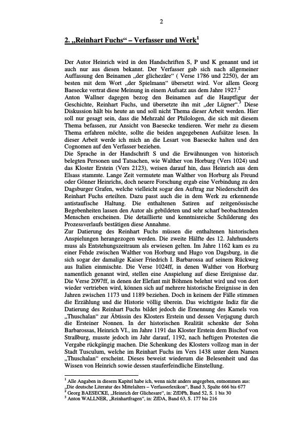Titel: Die Handschriften S, P und K des Reinhart Fuchs