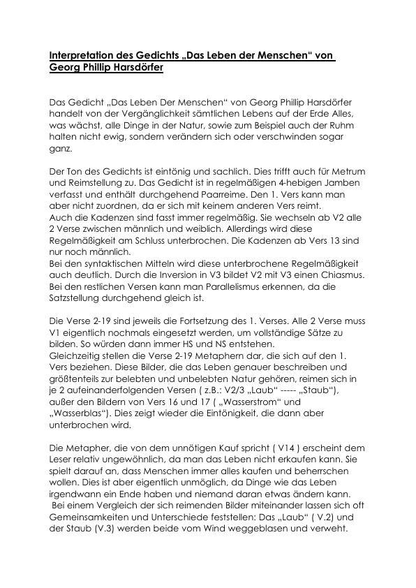 Harsdörfer Georg Phillip Das Leben Der Menschen
