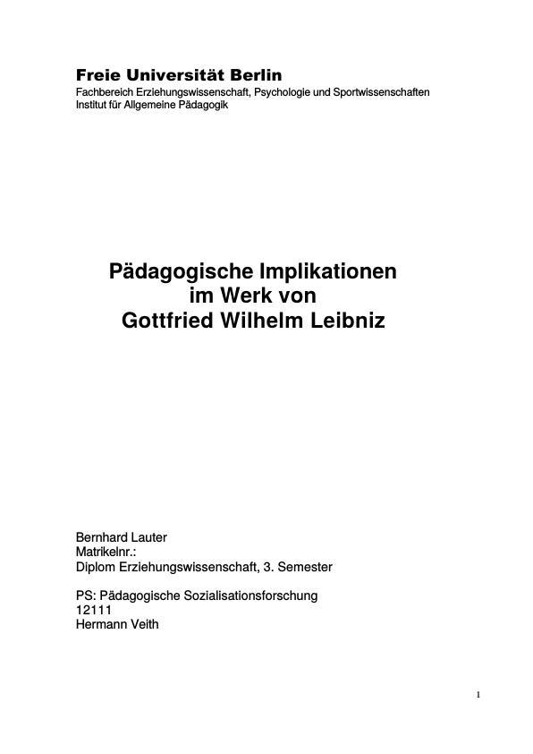 Titel: Pädagogische Implikationen im Werk von Gottfried Wilhelm Leibniz