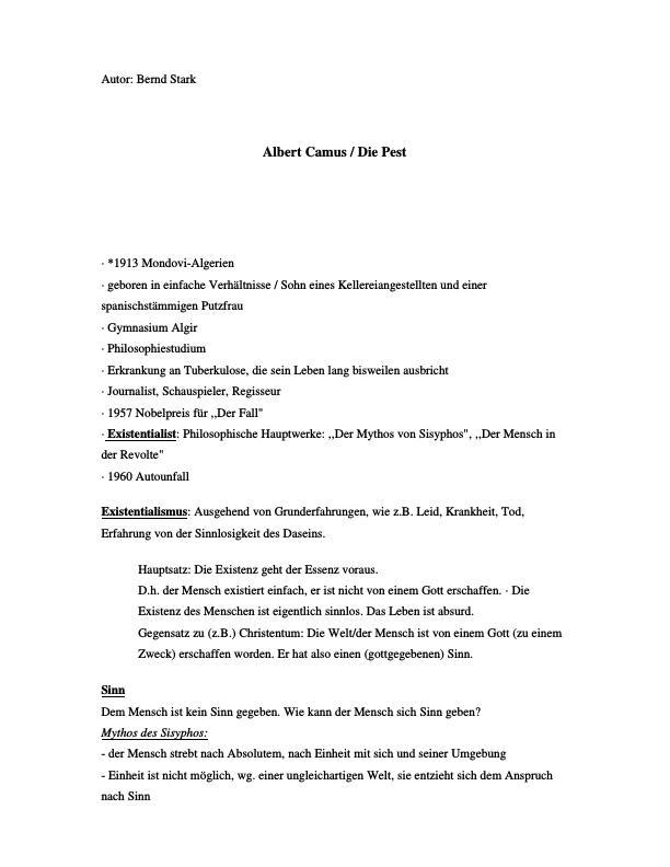 Titel: Kernaspekte Camus - Sisyphos - Pest