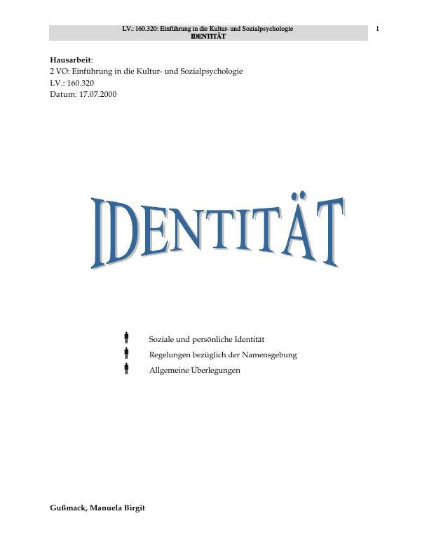 Titel: Identität