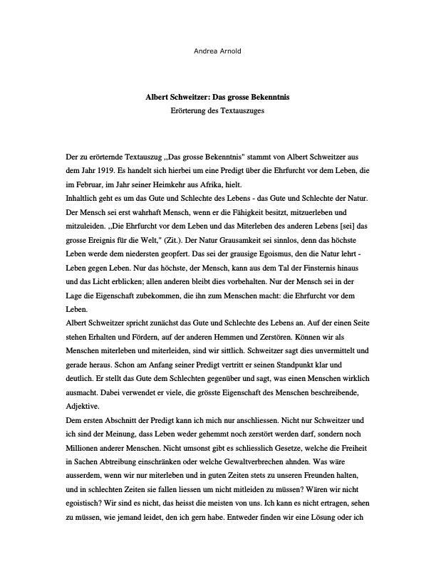 Titel: Schweitzer, Albert - Das grosse Bekenntnis (Erörterung)