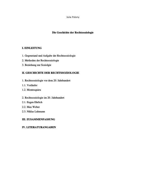 Titel: Die Geschichte der Rechtssoziologie