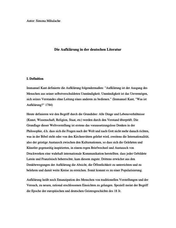 Titel: Die Aufklärung in der Deutschen Literatur