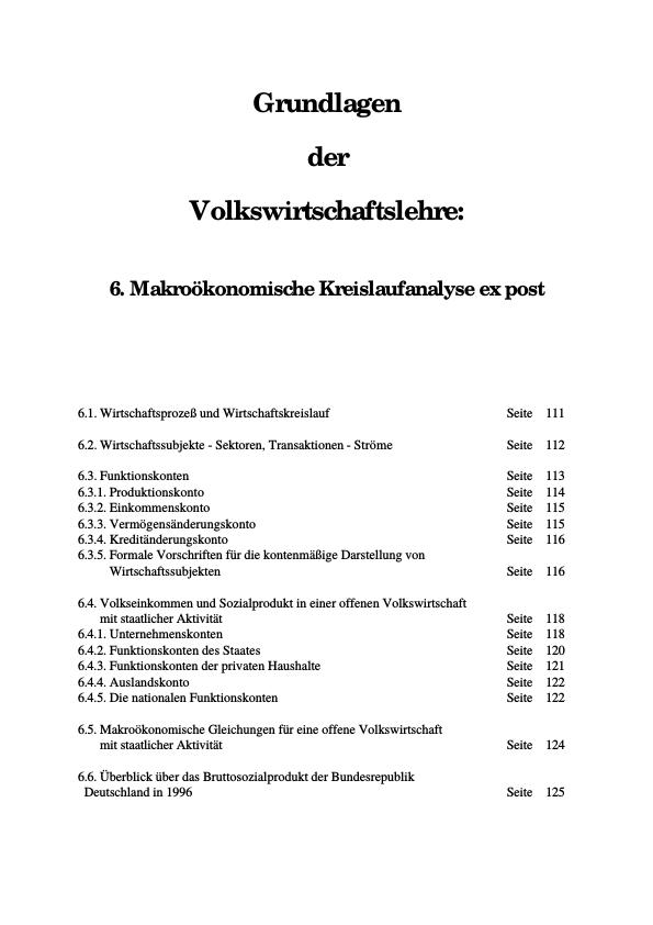 Titel: Makroökonomische Kreislaufanalyse ex post