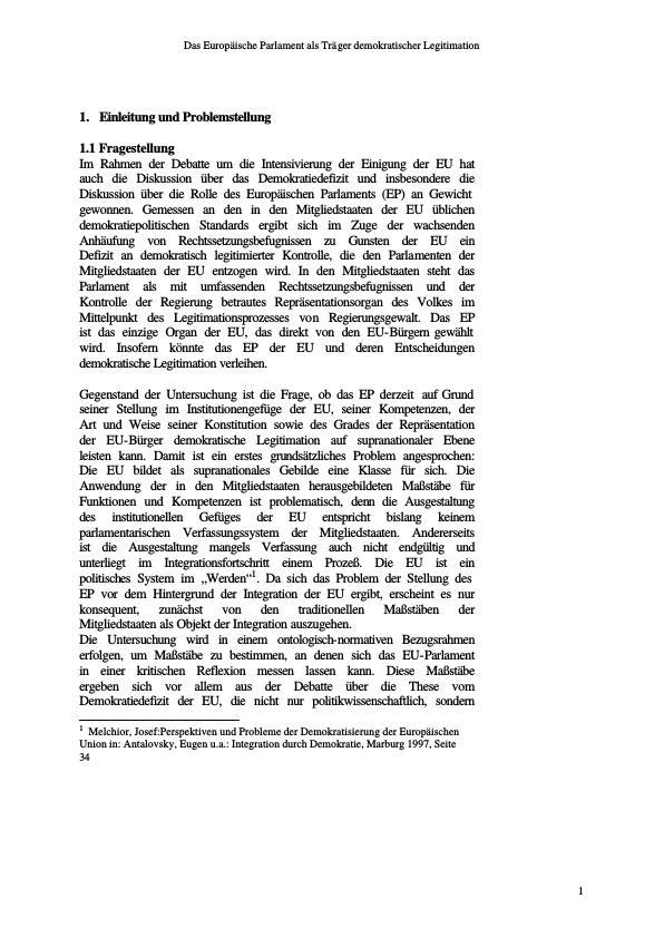 Titel: Das europäische Parlament als Träger demokratischer Legitimation