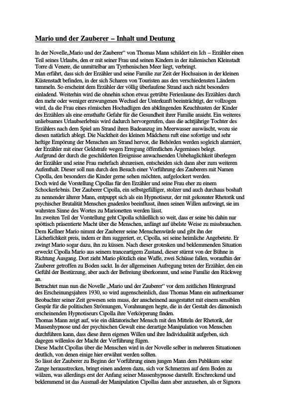 Titel: Mann, Thomas - Mario und der Zauberer - Inhalt und Deutung