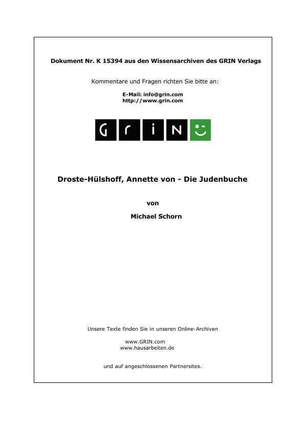 Titel: Droste-Hülshoff, Annette von - Die Judenbuche