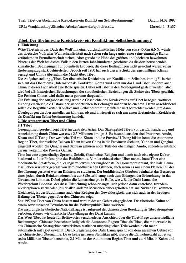 Titel: Tibet. Der tibetische Kreidekreis - ein Konflikt um Selbstbestimmung?