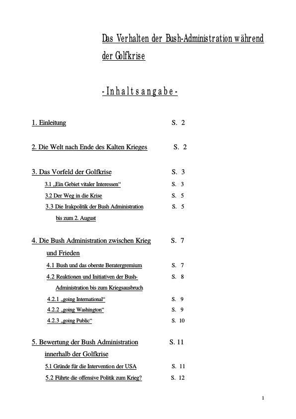 Titel: Verhalten der Bush-Administration während der Golfkrise