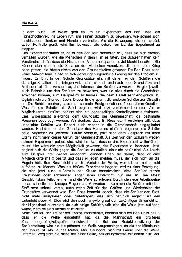 Eine Zusammenfassung: Rhue, Morton - Die Welle | Masterarbeit ...
