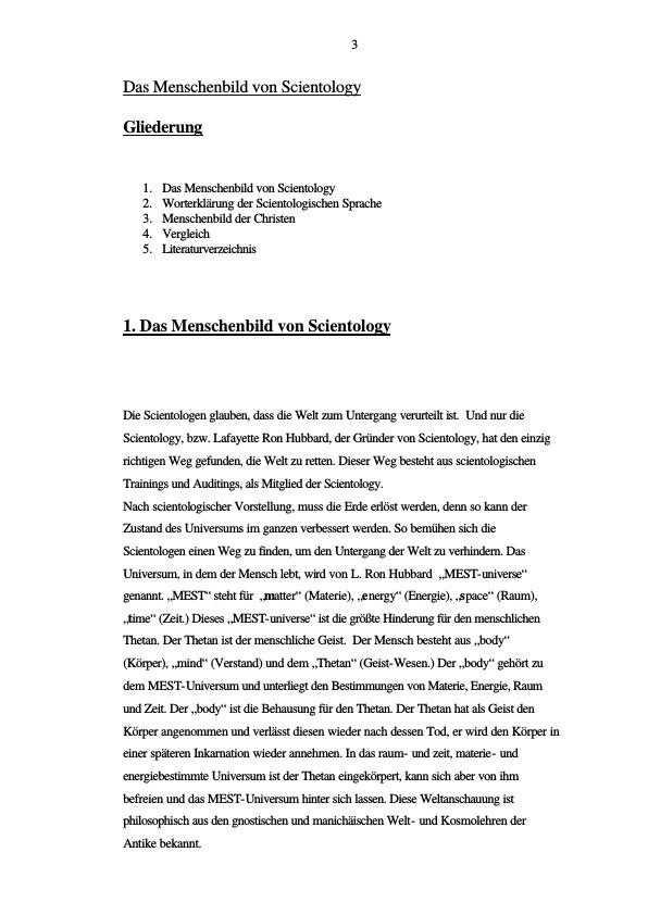 Titel: Menschenbild Scientology - Menschenbild der Christen