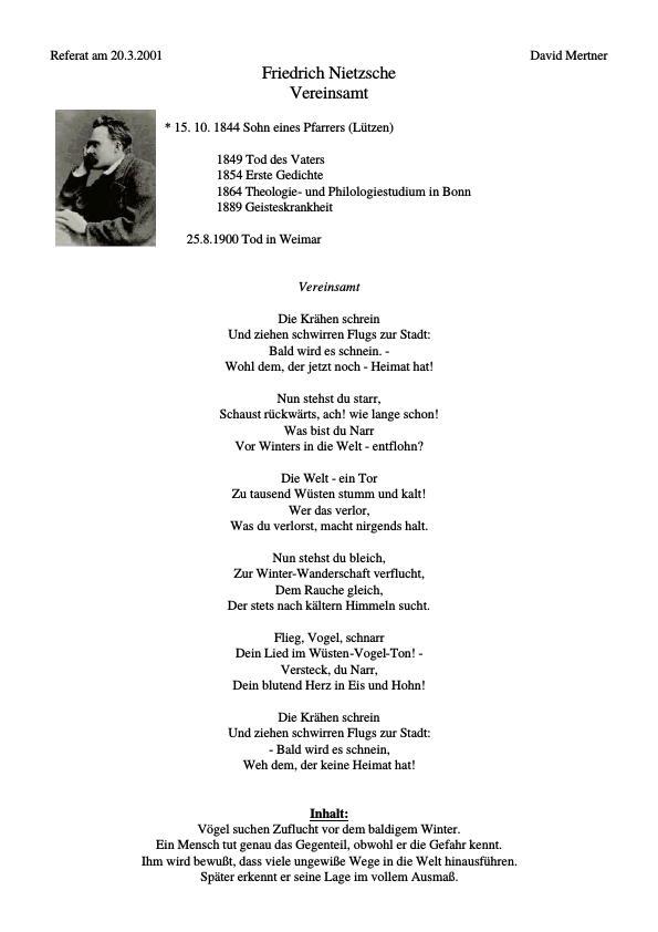 Titel: Nietzsche, Friedrich - Vereinsamt
