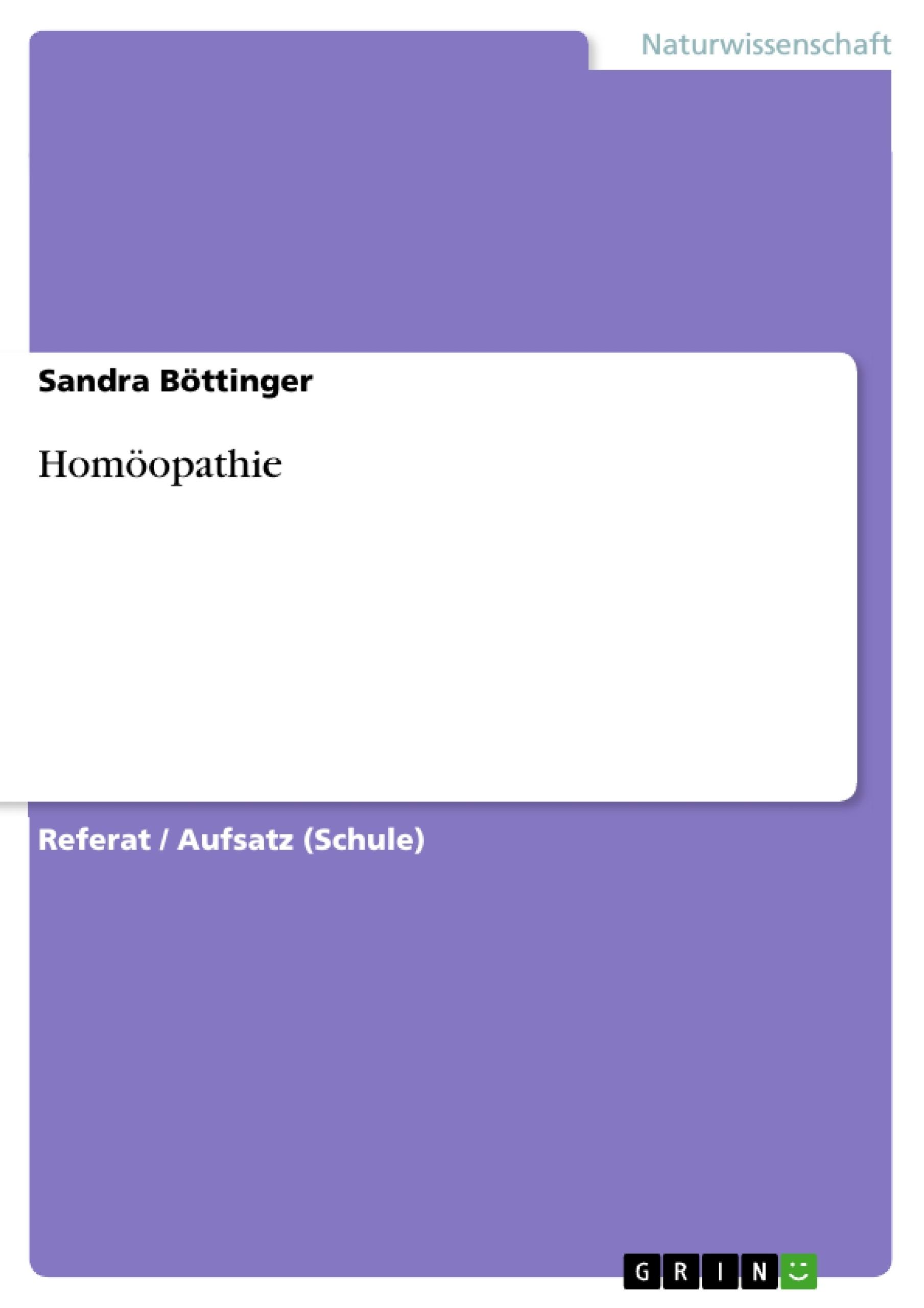 Titel: Homöopathie