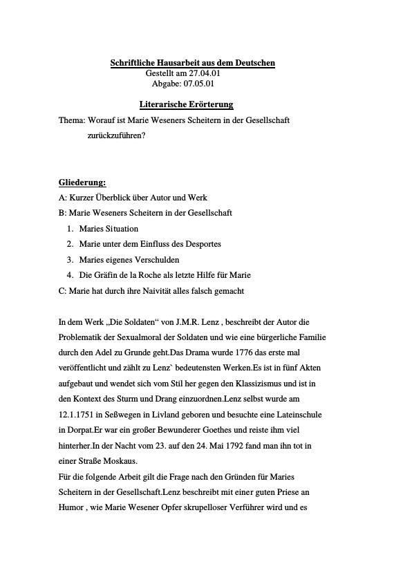 Titel: Lenz, J.M.R. - Die Soldaten - Marie Weseners Scheitern in der Gesellschaft