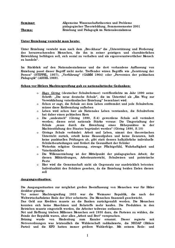 Titel: Pädagogik, Erziehung und Schule im Nationalsozialismus