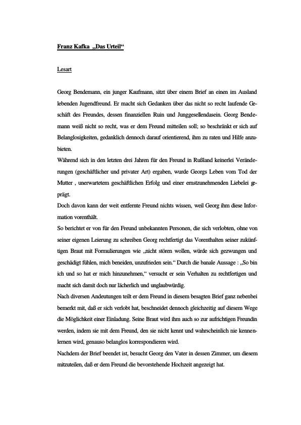 Titel: Franz Kafka - Das Urteil - Die Verwandlung