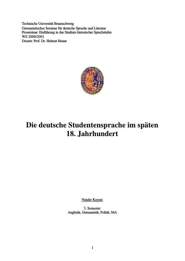 Titel: Die deutsche Studentensprache im späten 18. Jahrhundert