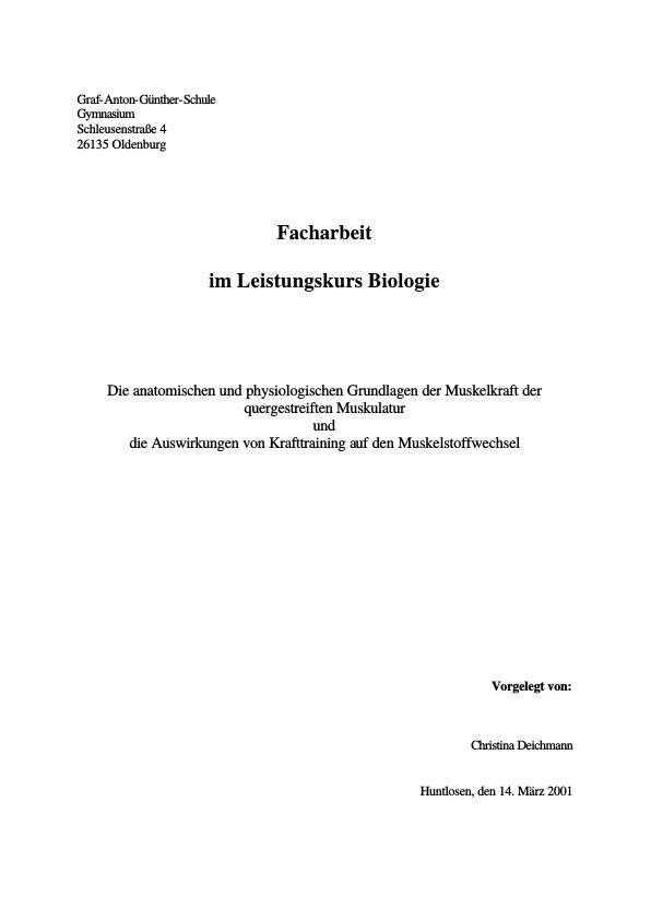 Die anatomischen und physiologischen Grundlagen der Muskelkraft ...