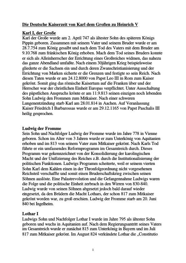 Titel: Die deutsche Kaiserzeit von Karl dem Großen zu Heinrich V