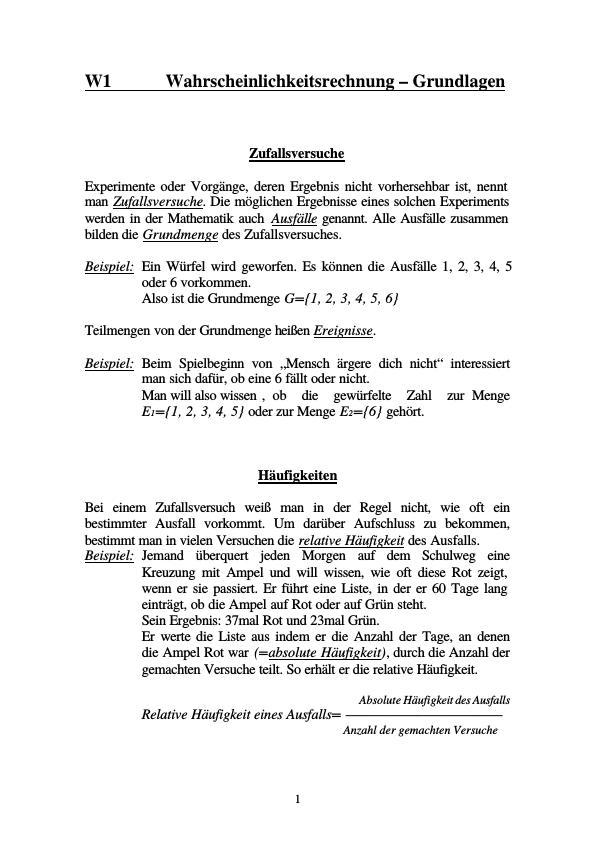 Titel: Grundlagen der Wahrscheinlichkeitsrechnung