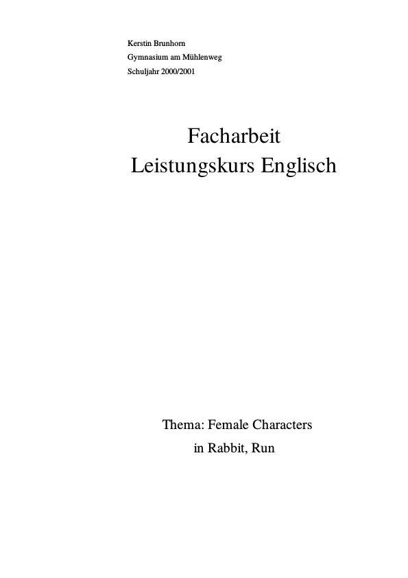 """Titel: Female characters in """"Rabbit, Run"""" by John Updike"""