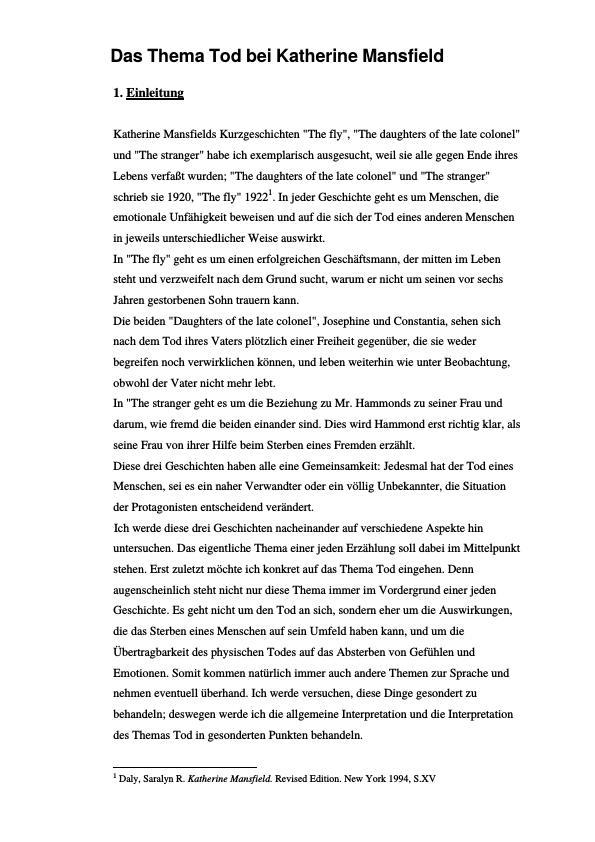 Titel: Das Thema Tod bei Katherine Mansfield