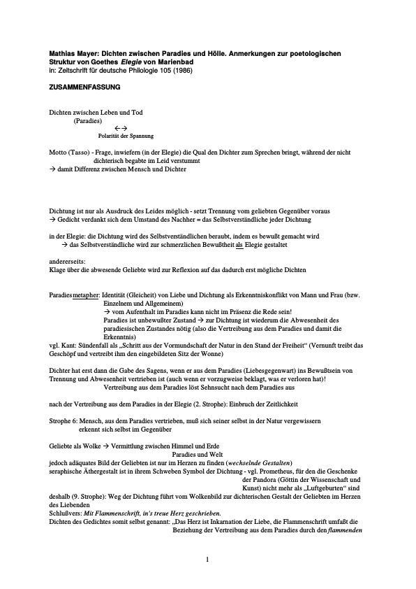 Titel: Mathias Mayer - Dichten zwischen Paradies und Hölle. Anmerkungen zur poetologischen Struktur von Goethes Elegie von Marienbad