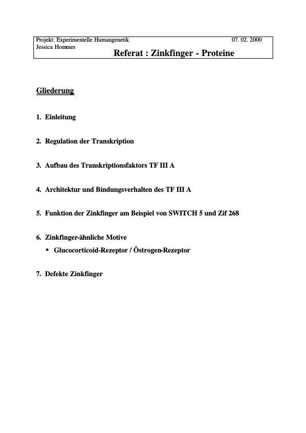 Titel: Transkriptionsfaktoren - Zinkfinger