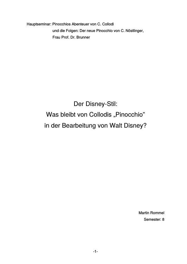Titel: Was bleibt von Collodis Pinocchio in der Bearbeitung von Walt Disney?